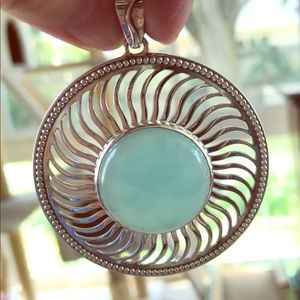 Blue chalcedony sterling pendant by Doug Paulus